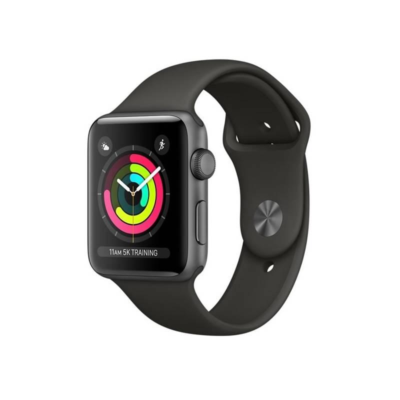 Chytré hodinky Apple Watch Series 3 GPS 38mm pouzdro z vesmírně šedého hliníku - šedý sportovní řemínek (MR352CN/A)