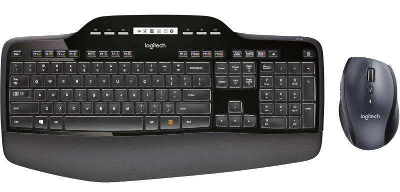 Klávesnice s myší Logitech Wireless Desktop MK710, US, USB Unifying (920-002440) černá