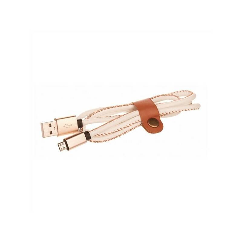 Kábel CellFish USB/micro USB, kožený, 1m (CELLLEATWHITE) biely