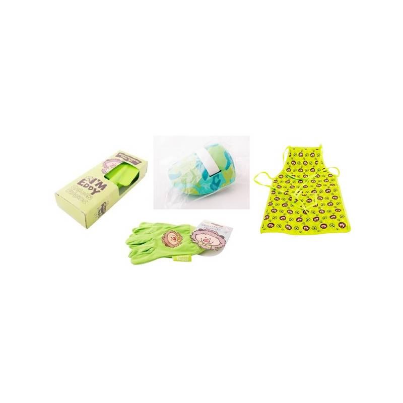 Set výrobkov M.A.T. ochranný oděv + sada nářadí pro malé zahradníky zelený