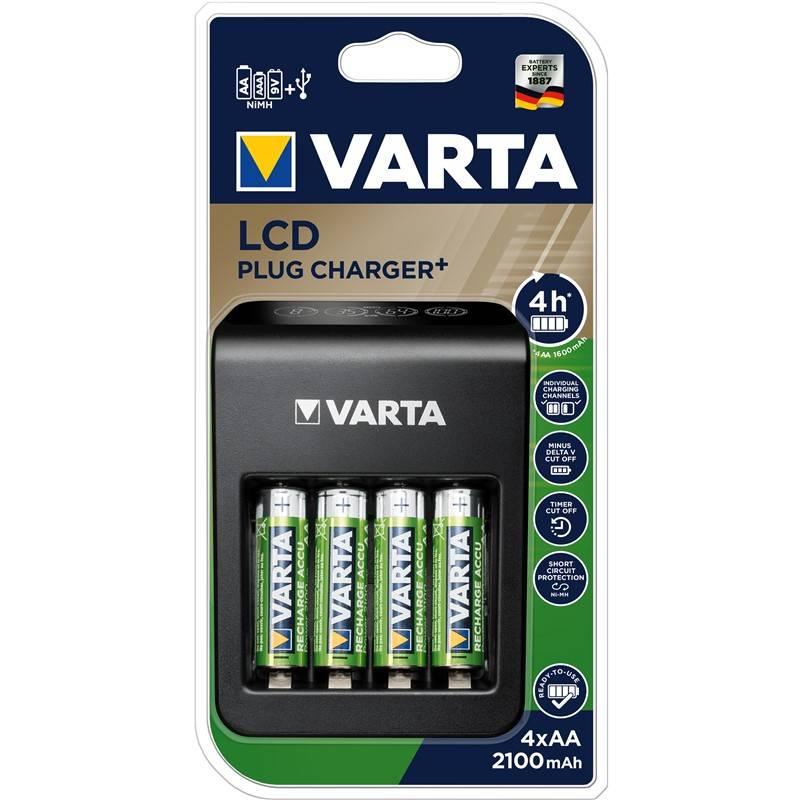 Nabíjačka Varta LCD Plug Charger+ 4x AA 2100mAh (57687101441) + Doprava zadarmo