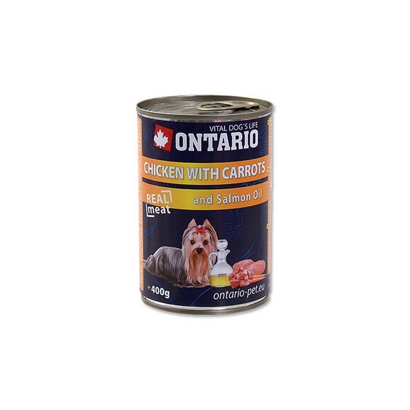 Konzerva Ontario Adult kura, karotka a lososový olej 400 g