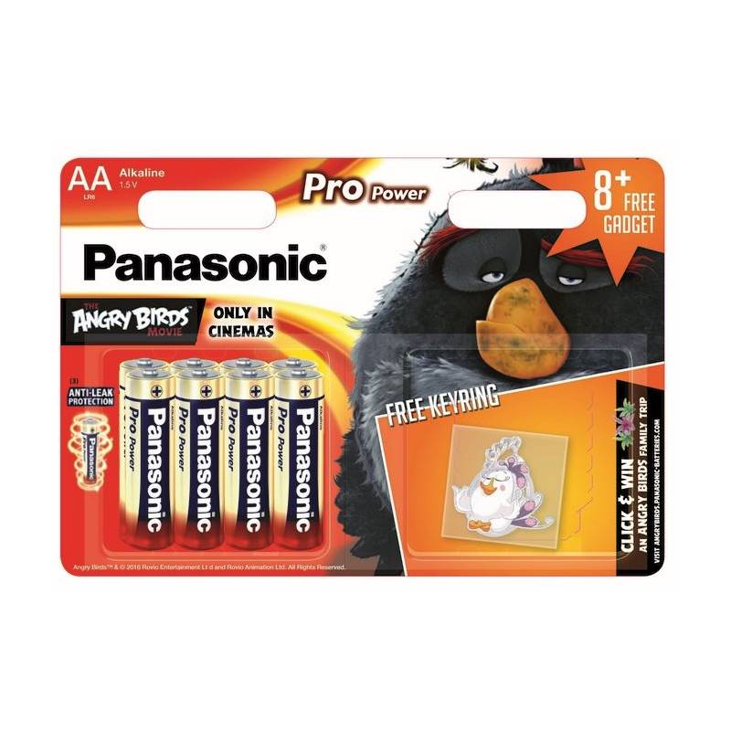 Batéria alkalická Panasonic Pro Power AA, LR6, klíčenka Angry Birds, blistr 8ks
