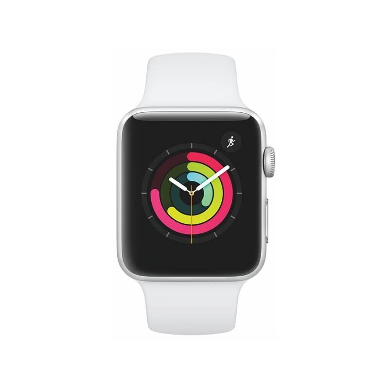 Chytré hodinky Apple Watch Series 3 GPS 42mm pouzdro ze stříbrného hliníku - bílý sportovní řemínek (MTF22CN/A) + Doprava zadarmo