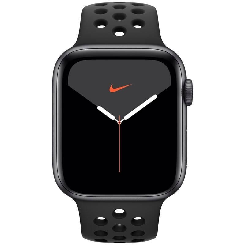 Inteligentné hodinky Apple Watch Nike Series 5 GPS 44mm pouzdro z vesmírně šedého hliníku - antracitový/černý sportovní řemínek Nike SK (MX3W2VR/A) + Doprava zadarmo