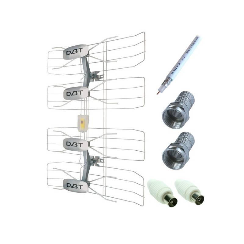 Vonkajšia anténa Solight DVB-T anténa - síto, VHF/UHF, 35dB vč. zesilovače (233603)