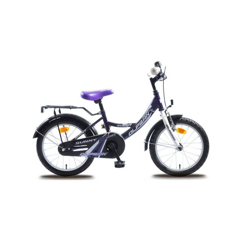 Detský bicykel Olpran Sunny 16' biele/fialové + Reflexní sada 2 SportTeam (pásek, přívěsek, samolepky) - zelené v hodnote 2.80 €Sada cyklodoplňků (zvonek+blikačka+světlo) pro kolo dětské (zdarma) + Doprava zadarmo