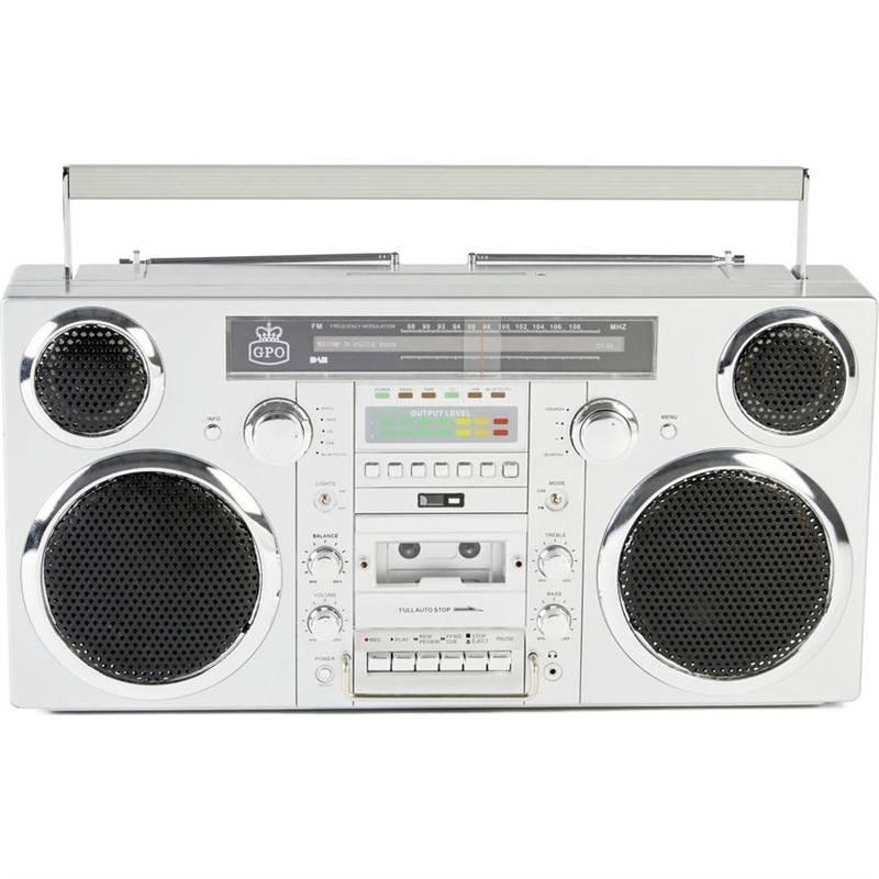 Rádiomagnetofón s DAB+/CD GPO Brooklyn strieborný + Doprava zadarmo