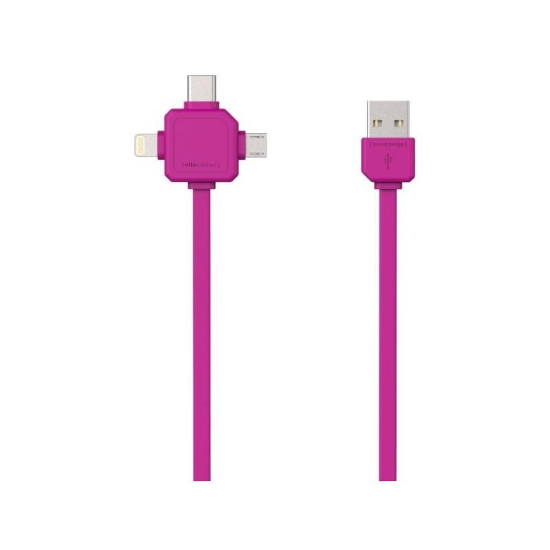 Kábel Powercube USB/micro USB + Lightning + USB-C, 1,5m (8719186003966) ružový