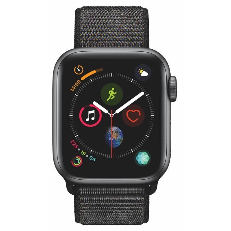 Chytré hodinky Apple Watch Series 4 Watch Series 4 GPS 40mm pouzdro z vesmírně šedého hliníku - černý provlékací sportovní řemínek (MU672HC/A) + Doprava zadarmo
