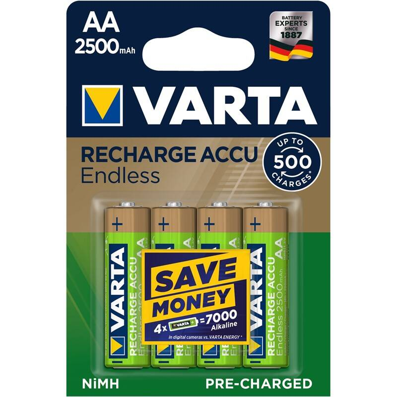 Batéria nabíjacie Varta Endless HR06, AA, 2500mAh, Ni-MH, blistr 4ks (56686101404) + Doprava zadarmo