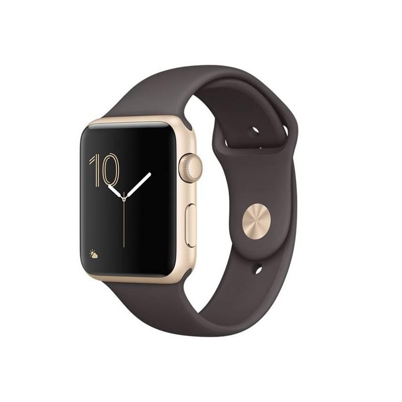 Chytré hodinky Apple Watch Series 1 42mm pouzdro ze zlatého hliníku – kakaově hnědý sportovní řemínek (MNNN2CN/A) + Doprava zadarmo