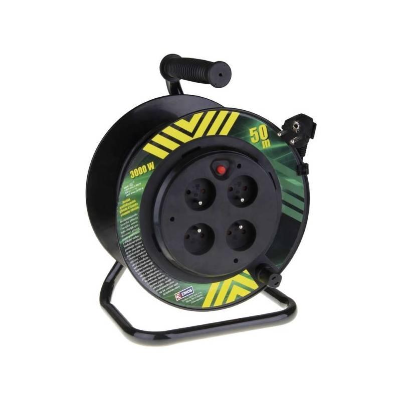 Kabel prodlužovací na bubne EMOS 4x zásuvka, 50m, pevný střed (1908045010) čierny