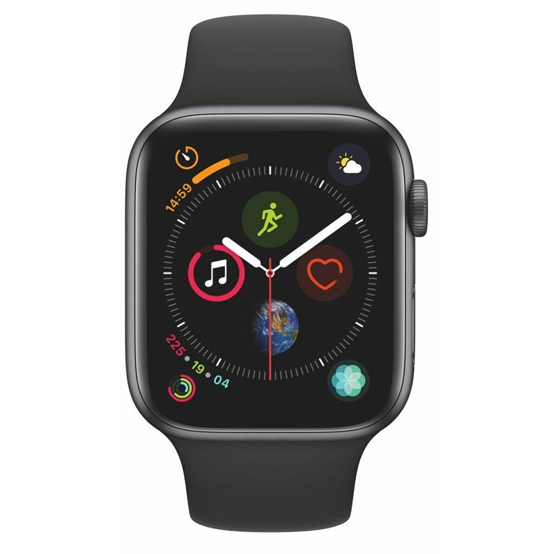Chytré hodinky Apple Watch Series 4 GPS 44mm pouzdro z vesmírně šedého hliníku - černý sportovní řemínek SK verze (MU6D2VR/A) + Doprava zadarmo