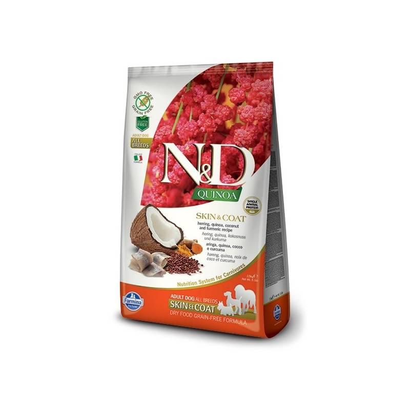 Granule N&D Grain Free Quinoa DOG Skin&Coat Herring & Coconut 7 kg + Antiparazitní obojek Scalibor Protectorband pro psy - 48 cm v hodnote 12.00 €