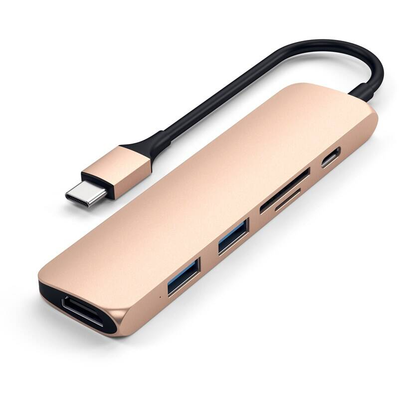 USB Hub Satechi USB-C Slim Multimedia Adapter V2 (2x USB 3.0, USB-C, HDMI, Micro SD, SD) (ST-SCMA2G) zlatá + Doprava zadarmo