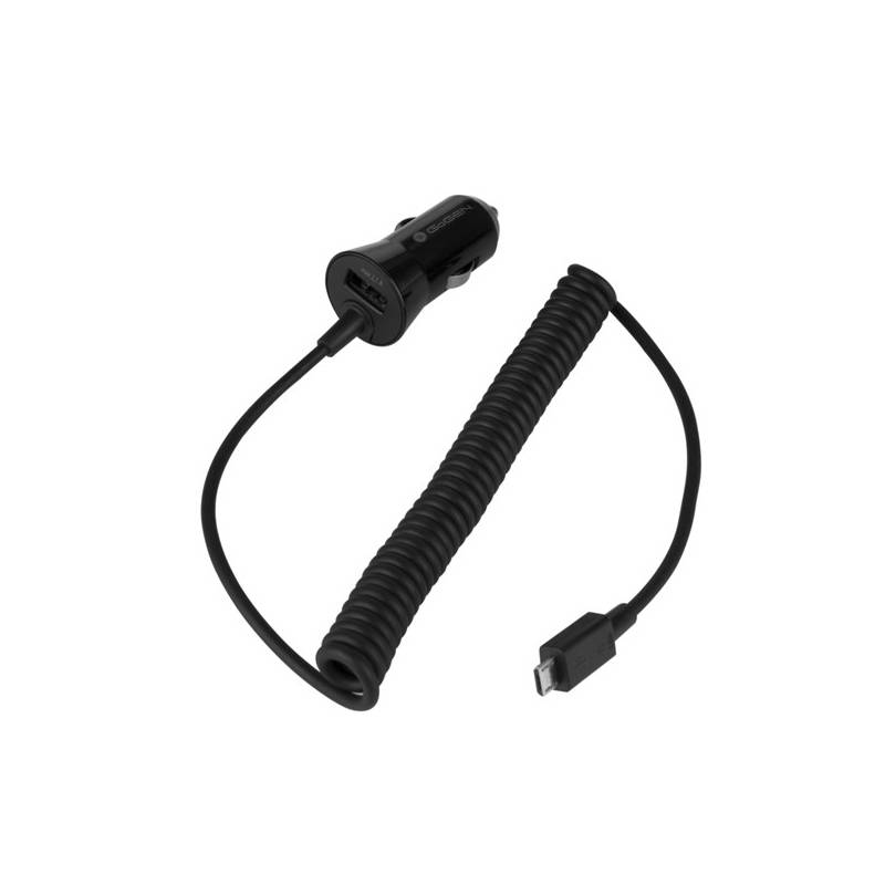 Nabíjačka do auta GoGEN CH 24 CC, 1x USB + kroucený microUSB kabel 1,2m (GOGCH24CC) čierna