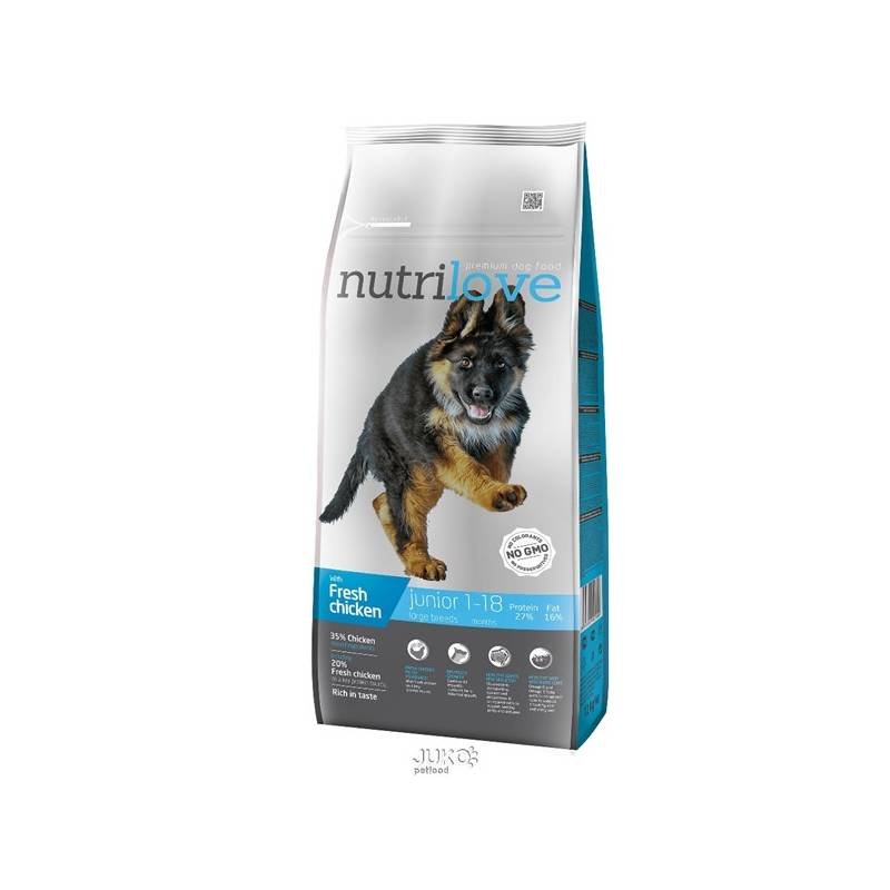 Granule Nutrilove Dog dry Junior L fresh chicken 12kg Konzerva Nutrilove Dog paté Chicken 800g (zdarma)Konzerva Nutrilove Dog paté Lamb 800g (zdarma)