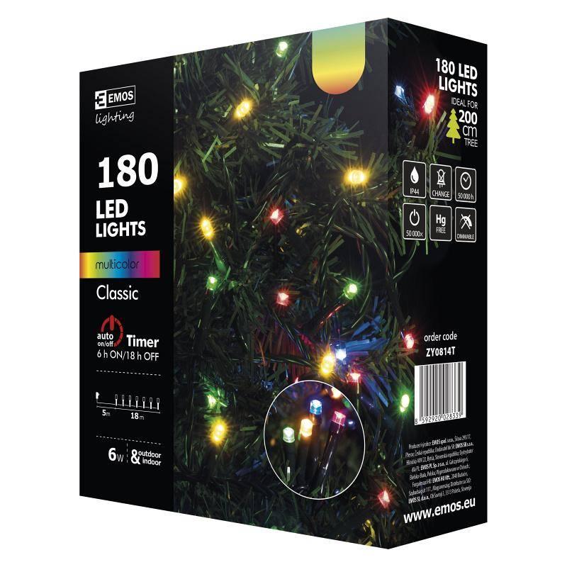 Vianočné osvetlenie EMOS 180 LED, 18m, řetěz, vícebarevná, časovač, i venkovní použití (1534081045)
