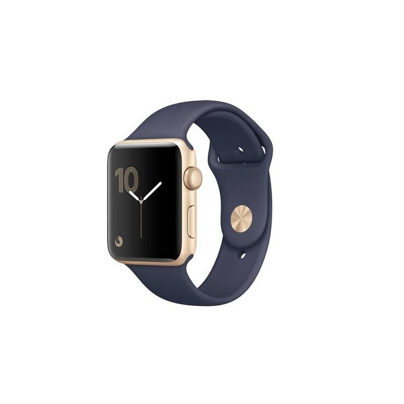 Chytré hodinky Apple Watch Series 2 42mm pouzdro ze zlatého hliníku - půlnočně modrý sportovní řemínek (MQ152CN/A) + Doprava zadarmo