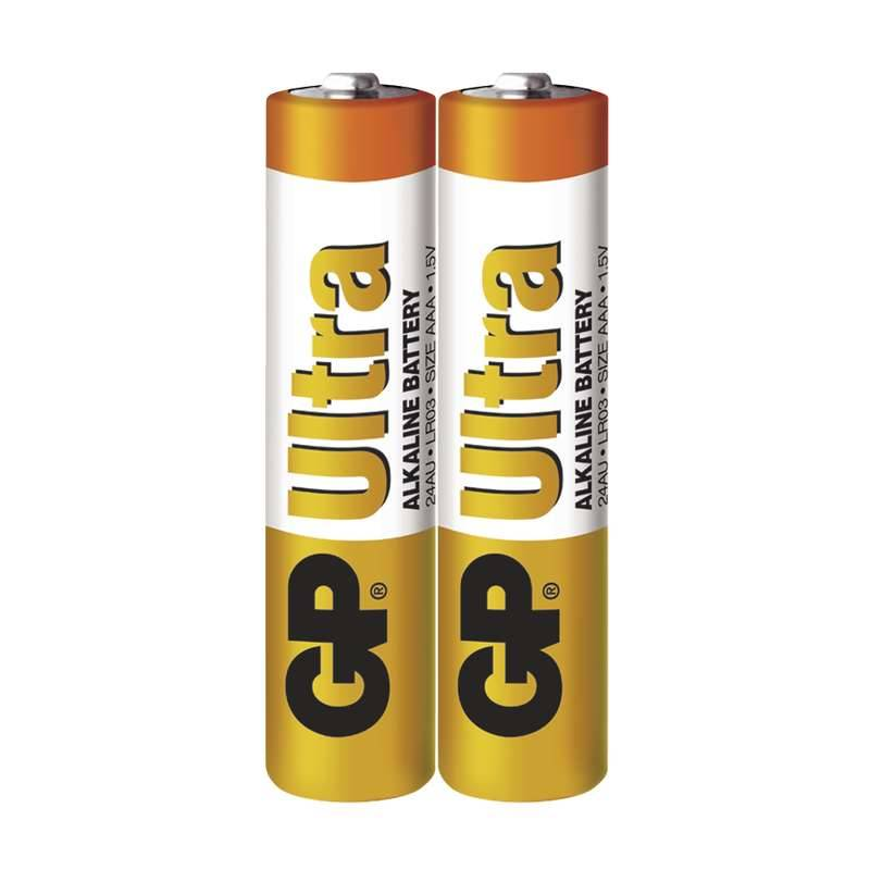 Baterie alkalická GP Ultra AAA, LR03, fólie 2ks (GP 24AU)