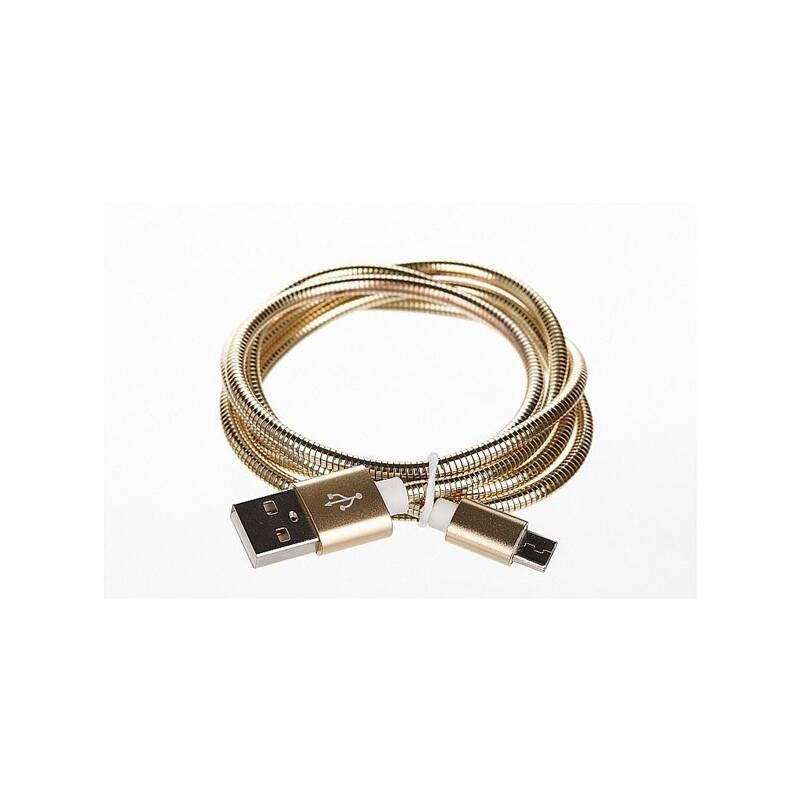 Kábel CellFish kovový, USB/micro USB, 1m (CELLKOVGOLD) zlatý