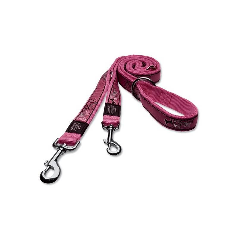 Vodítko Rogz přepínací FANCY DRESS Pink Bones XL