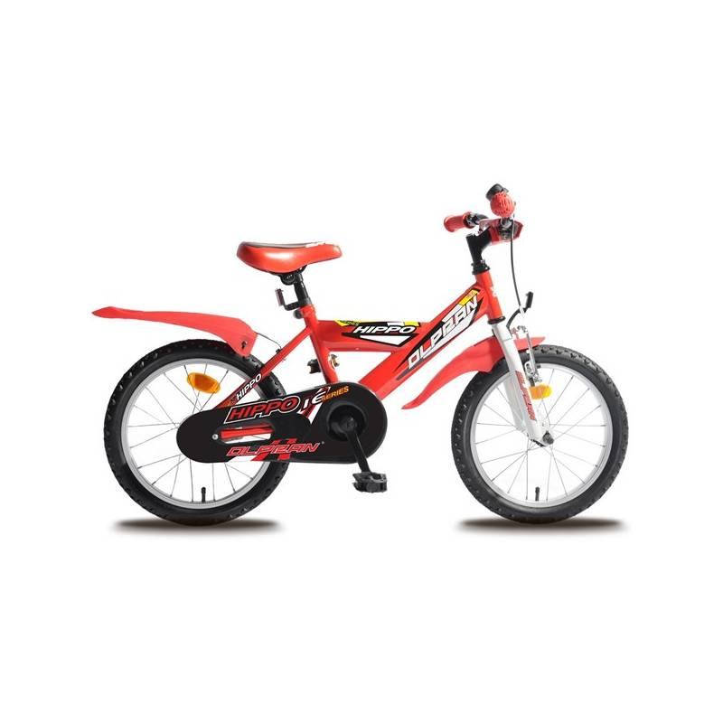 """Detský bicykel Olpran Hippo 16"""" s bezpečnostnými prvkami červený Sada cyklodoplňků (zvonek+blikačka+světlo) pro kolo dětské (zdarma) + Doprava zadarmo"""