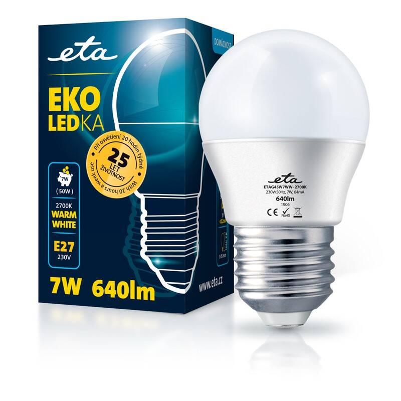 LED žiarovka ETA EKO LEDka mini globe 7W, E27, teplá biela (G45W7WW)