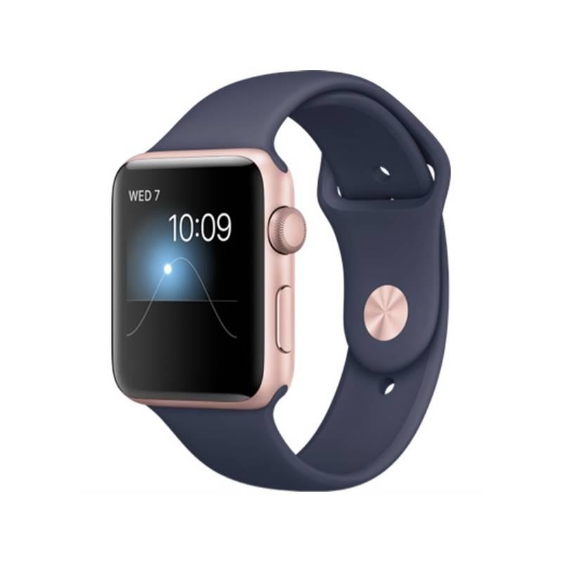 Chytré hodinky Apple Watch Series 2 42mm pouzdro z růžově zlatého hliníku – půlnočně modrý sportovní řemínek (MNPL2CN/A) + Doprava zadarmo