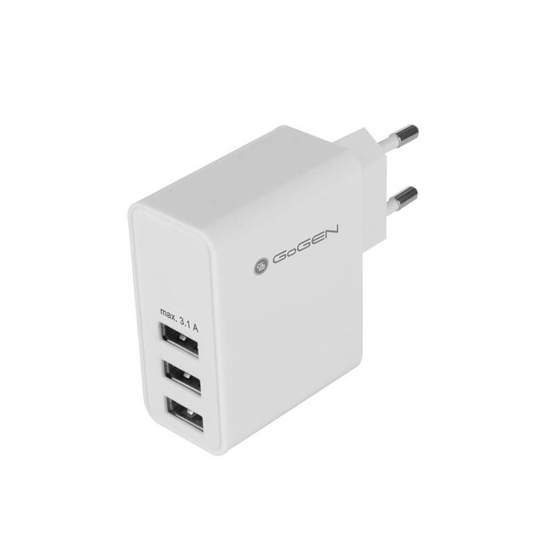 Nabíjačka do siete GoGEN ACH 300, 3x USB, 3,1A (GOGACH300) biela