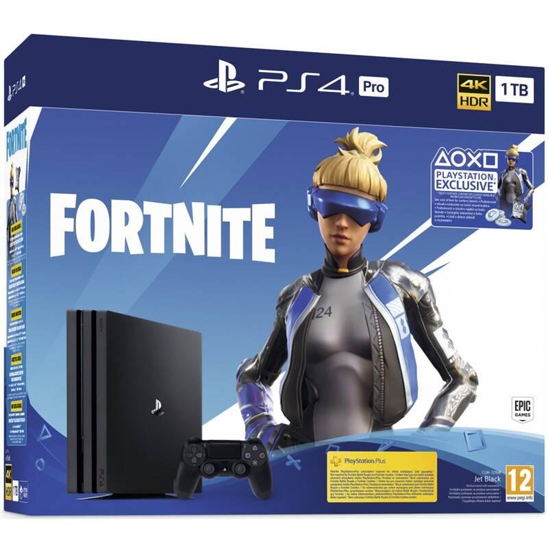 Herní konzole Sony PlayStation 4 Pro + Fortnite balíček 2000 V Bucks (PS719941101) černá