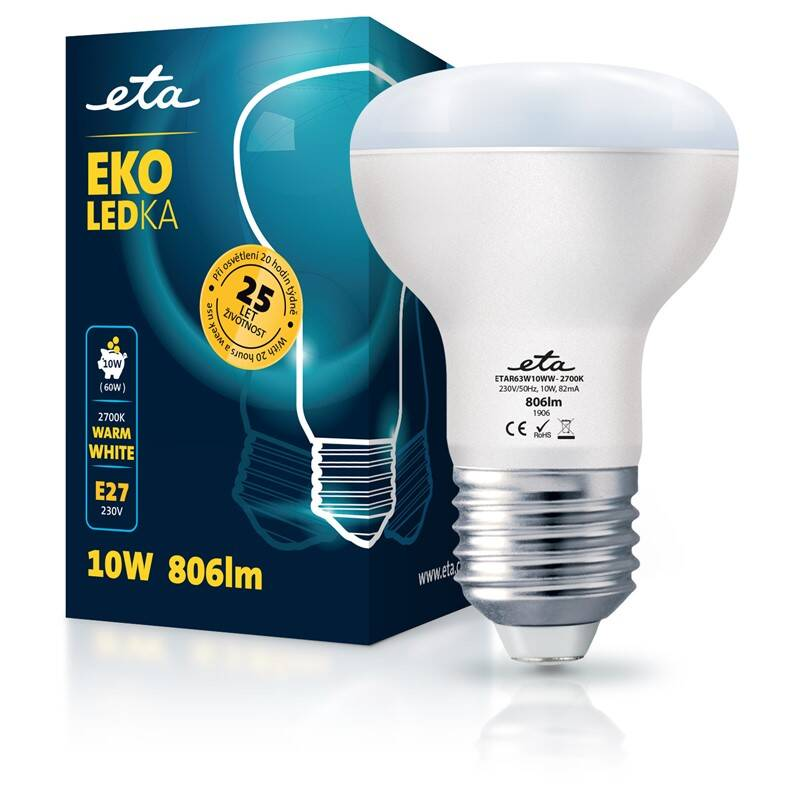 LED žiarovka ETA EKO LEDka reflektor 10W, E27, teplá biela (R63W10WW)