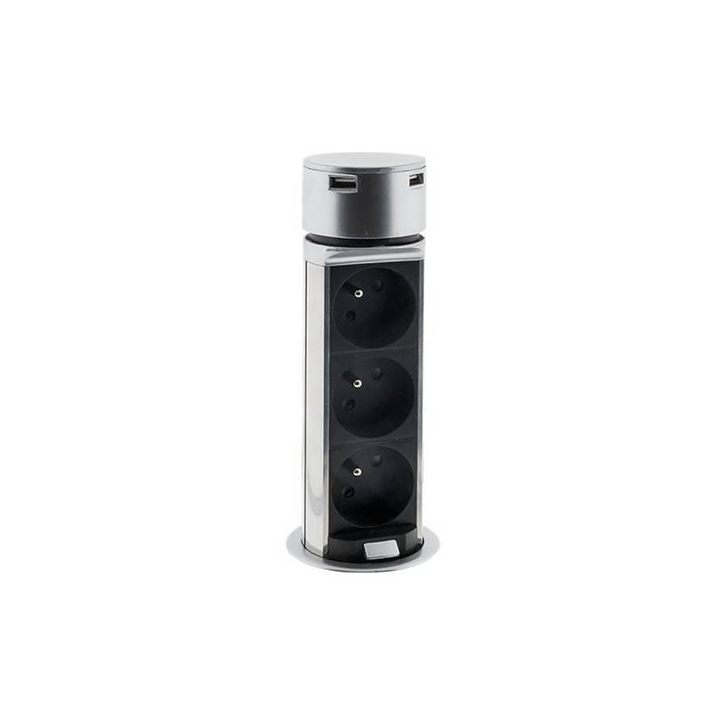 Kábel predlžovací Solight výsuvný blok, 3x zásuvka, 2x USB, 1,5m (PP125) strieborný + Doprava zadarmo