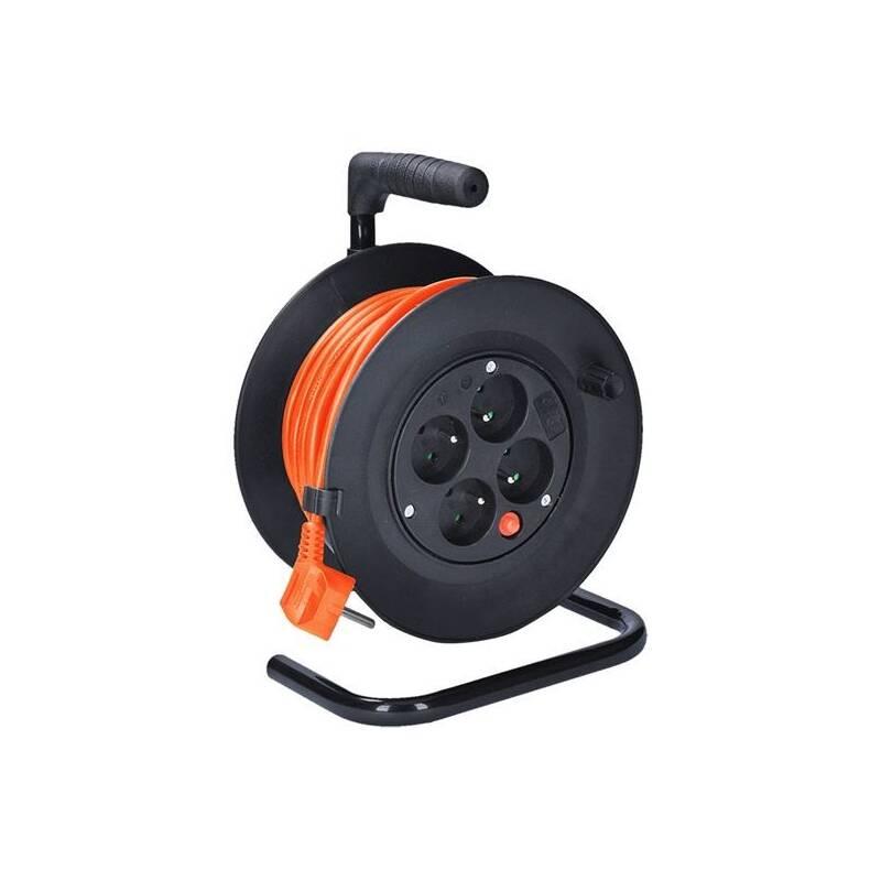 Kabel prodlužovací na bubne Solight 4 zásuvky, 15m, 3x 1,0mm2 (PB22O) čierny/oranžový