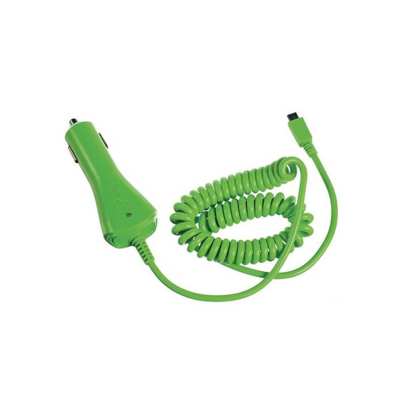 Nabíjačka do auta Celly microUSB, 1A (CCMICROG) zelený