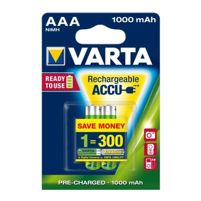 Batéria nabíjacie Varta Rechargeable Accu, AAA, 1 000 mAh, 2 ks