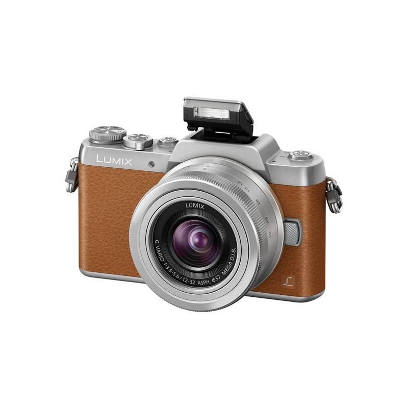 Digitálny fotoaparát Panasonic Lumix DMC-GF7KEG-T + objektiv 12-32 mm strieborný/hnedý Paměťová karta Kingston SDXC 64GB UHS-I U1 (90R/45W) (zdarma) + Doprava zadarmo