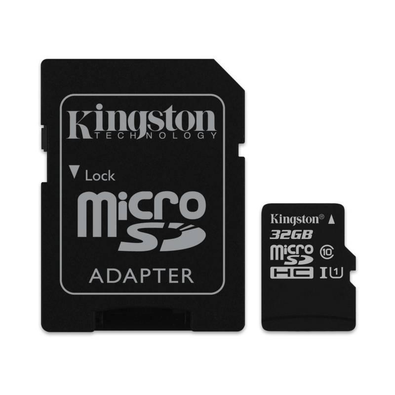 Pamäťová karta Kingston MicroSDHC 32GB UHS-I U1 (45R/10W) + adapter (SDC10G2/32GB)