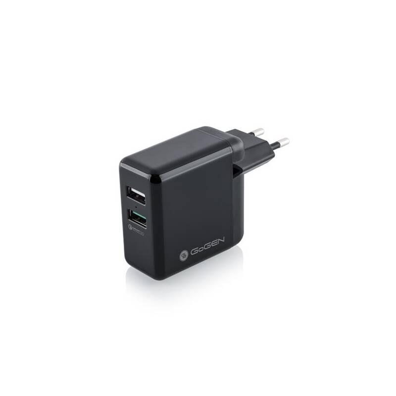 Nabíjačka do siete GoGEN ACHQ 203, 2x USB, 2,4A s funkcí rychlonabíjení QC 3.0 čierna