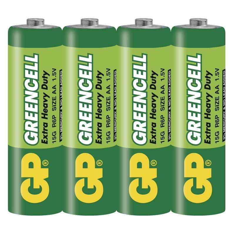 Baterie zinkochloridová GP Greencell AA, R06, fólie 4ks (GP 15G)