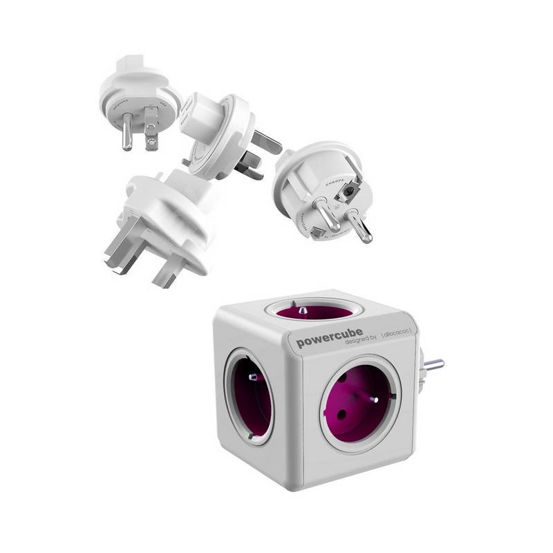 Cestovný adaptér Powercube ReWirable + Travel Plugs biely