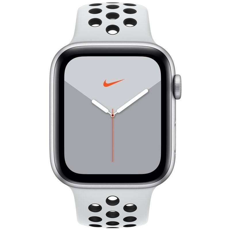 Inteligentné hodinky Apple Watch Nike Series 5 GPS 44mm pouzdro ze stříbrného hliníku - platinový/černý sportovní řemínek Nike SK (MX3V2VR/A) + Doprava zadarmo