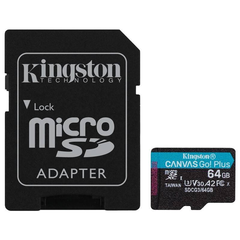 Pamäťová karta Kingston Canvas Go! Plus MicroSDXC 64GB UHS-I U3 (170R/70W) + adaptér (SDCG3/64GB)
