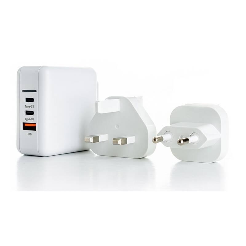 Nabíjačka do siete ER Power 65W GaN PD 2x USB-C, USB-A QC 3.0 biela + Doprava zadarmo