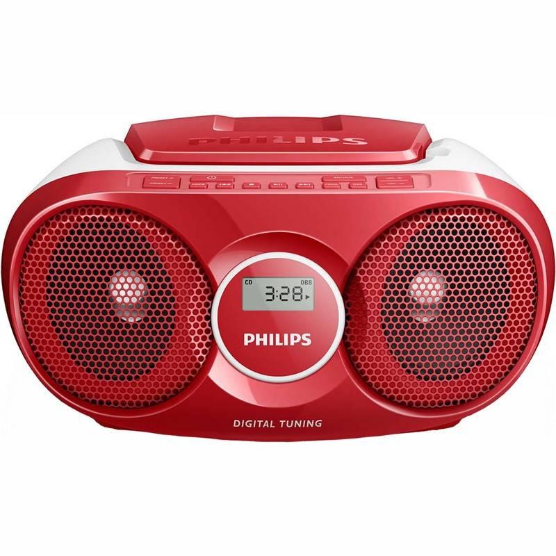 Rádioprijímač s CD Philips AZ215R červený