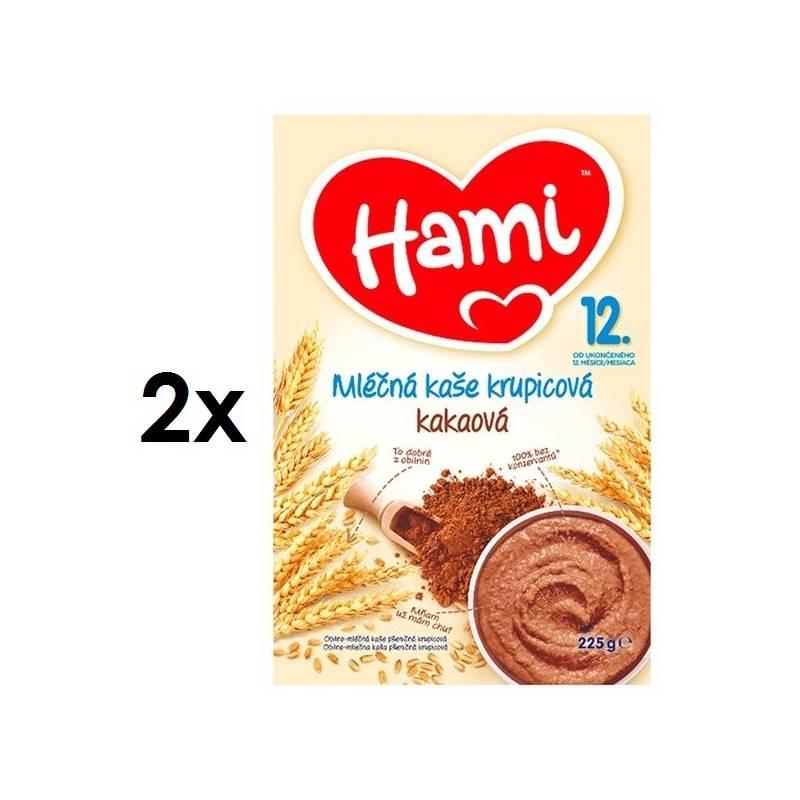 Mliečna kaša Hami krupicová s kakaem, 225g x 2ks