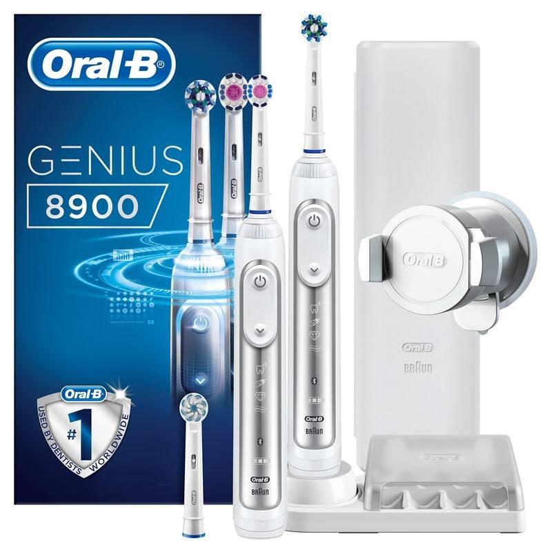 Set zubných kefiek Oral-B Genius 8900 Cross Action + Bonus Handle biely