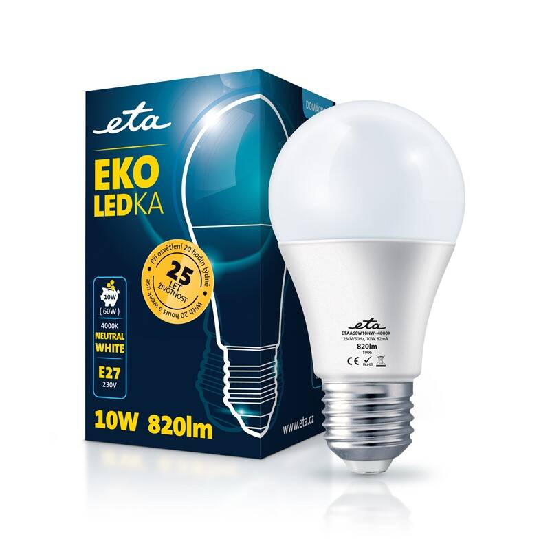 LED žiarovka ETA EKO LEDka klasik 10W, E27, neutrálna biela (A60W10NW)