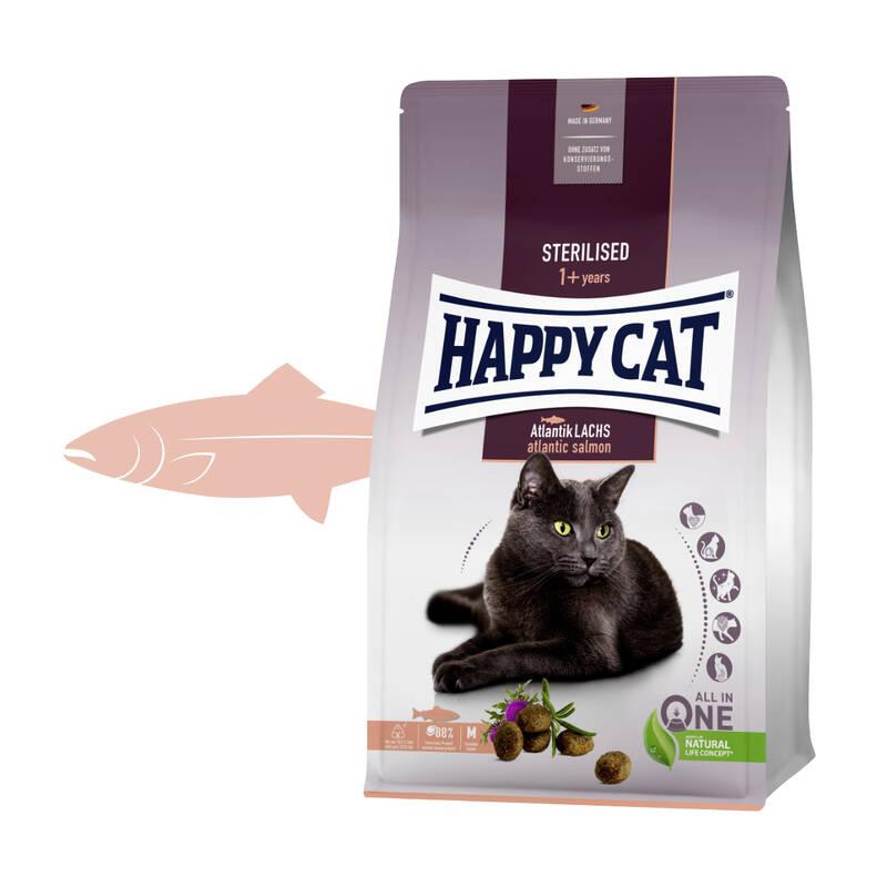 Granuly HAPPY CAT Sterilised Atlantik-Lachs / Losos 10 kg + Doprava zadarmo